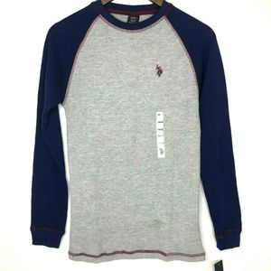 US Polo Boys Waffle Knit Thermal Color Block Gray